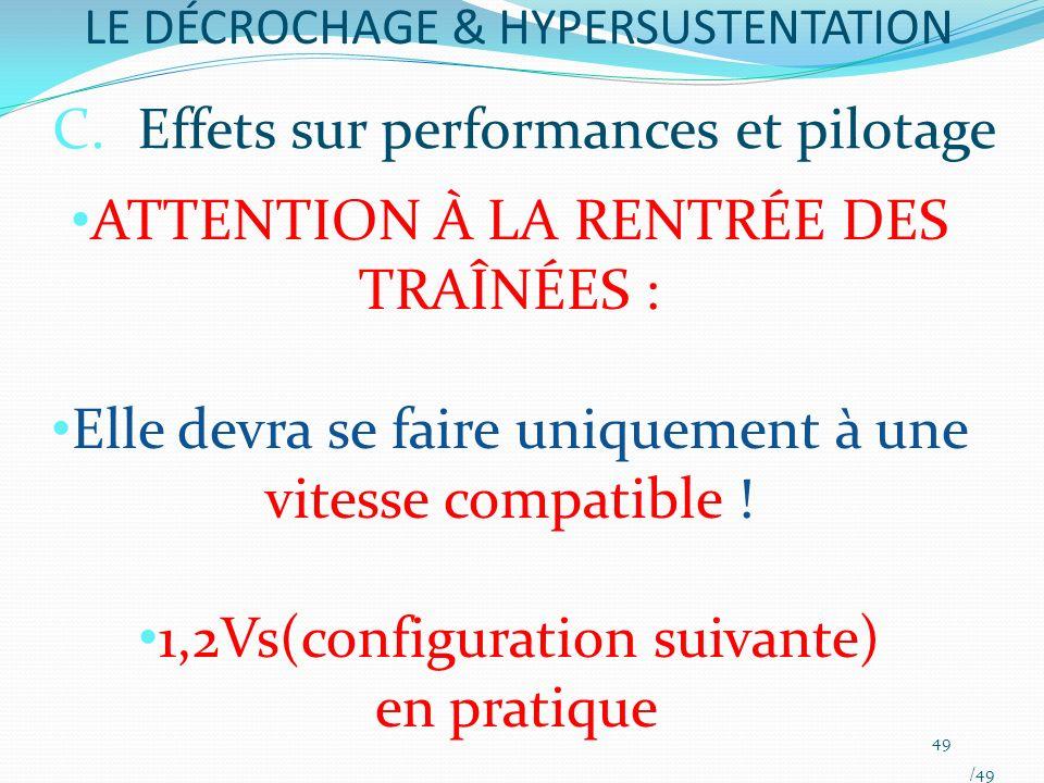 LE DÉCROCHAGE & HYPERSUSTENTATION ATTENTION À LA RENTRÉE DES TRAÎNÉES : Elle devra se faire uniquement à une vitesse compatible ! 1,2Vs(configuration