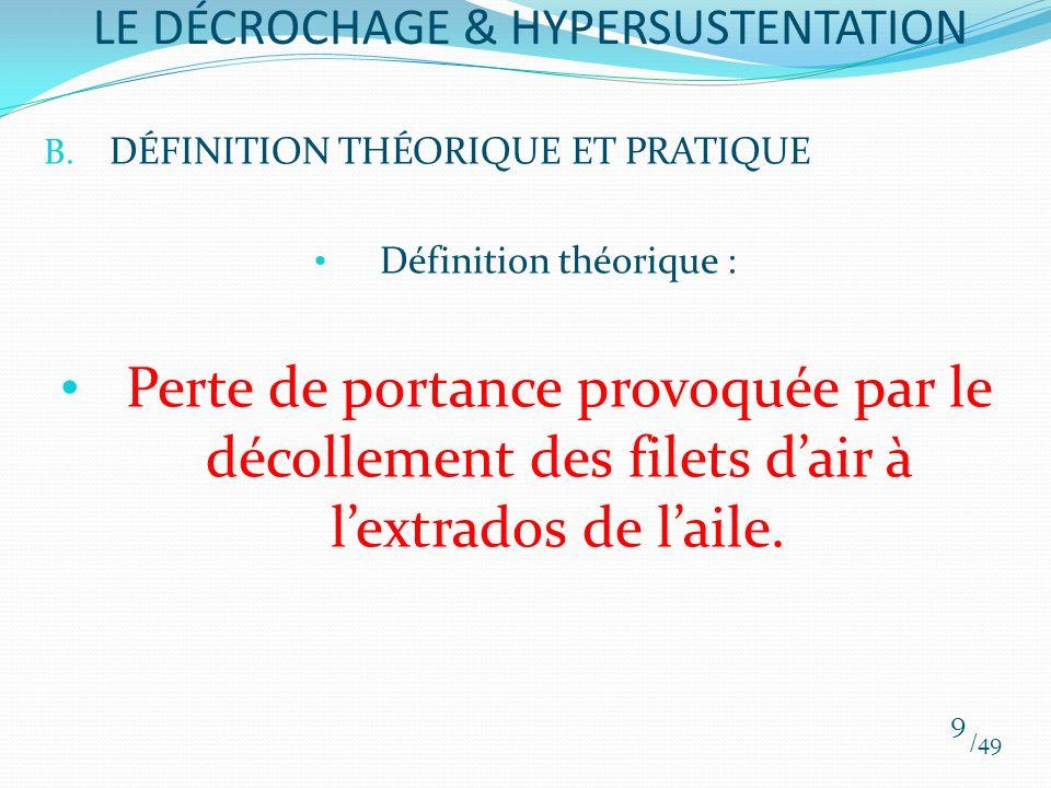 B. DÉFINITION THÉORIQUE ET PRATIQUE Définition théorique : Perte de portance provoquée par le décollement des filets dair à lextrados de laile. /49 9