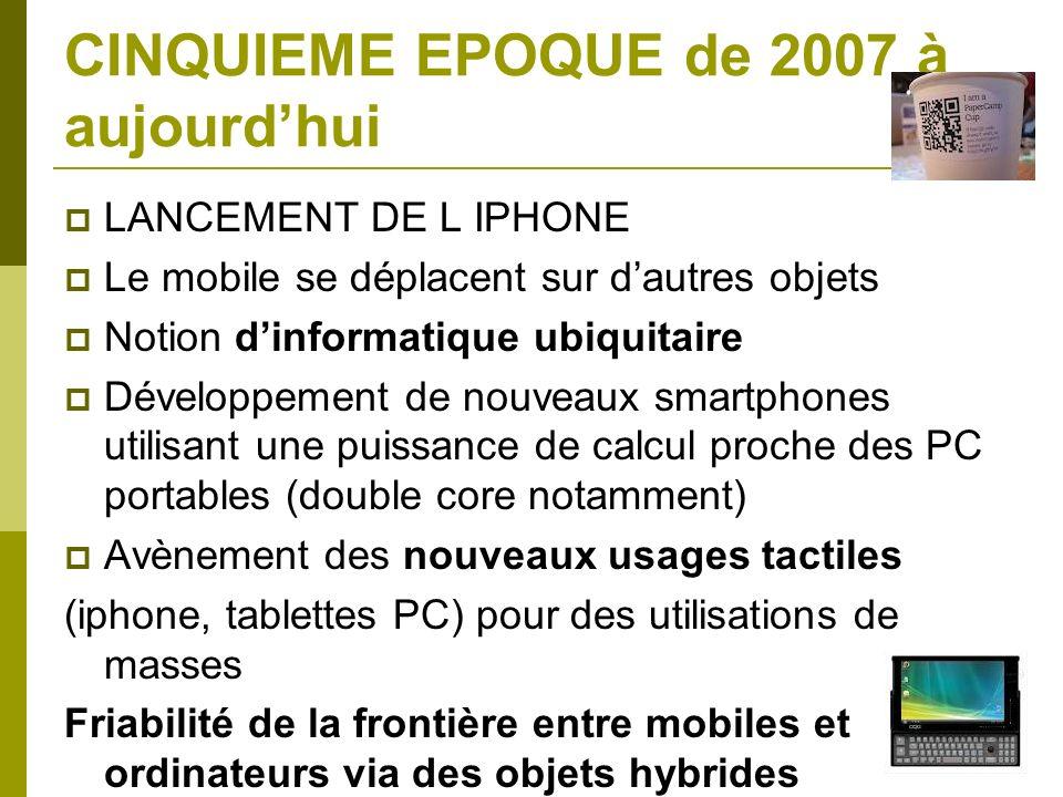 CINQUIEME EPOQUE de 2007 à aujourdhui LANCEMENT DE L IPHONE Le mobile se déplacent sur dautres objets Notion dinformatique ubiquitaire Développement d