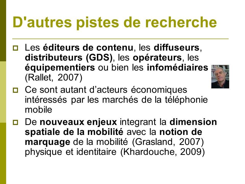 D'autres pistes de recherche Les éditeurs de contenu, les diffuseurs, distributeurs (GDS), les opérateurs, les équipementiers ou bien les infomédiaire