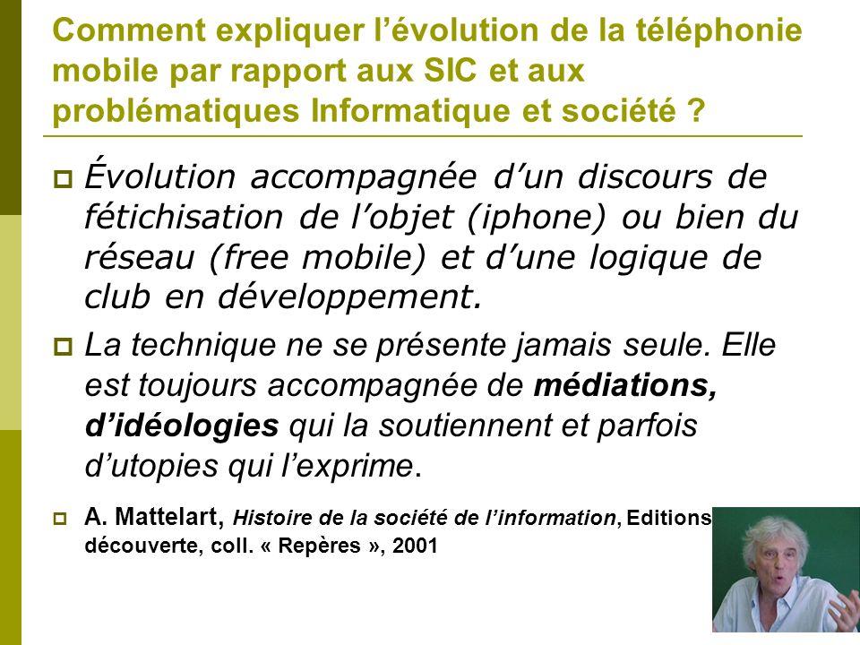 Comment expliquer lévolution de la téléphonie mobile par rapport aux SIC et aux problématiques Informatique et société ? Évolution accompagnée dun dis