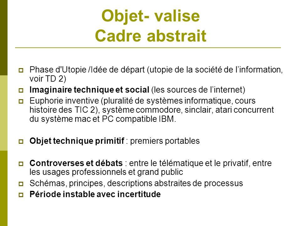 Objet- valise Cadre abstrait Phase d'Utopie /Idée de départ (utopie de la société de linformation, voir TD 2) Imaginaire technique et social (les sour