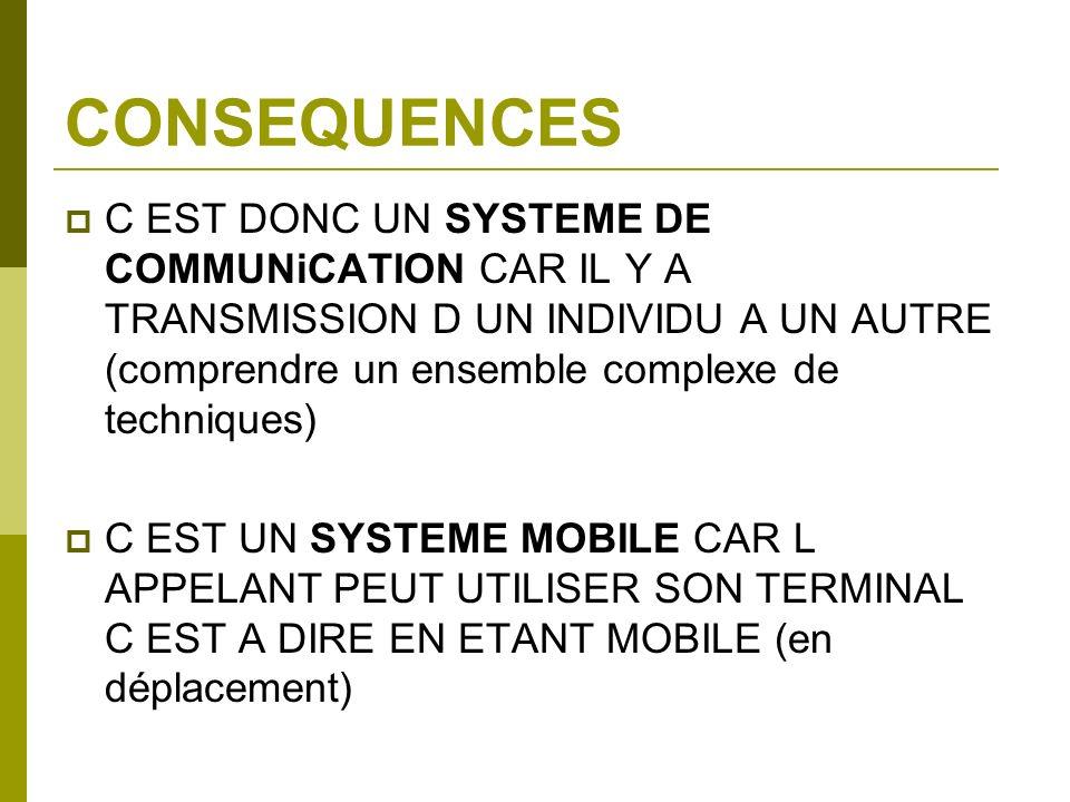 CONSEQUENCES C EST DONC UN SYSTEME DE COMMUNiCATION CAR IL Y A TRANSMISSION D UN INDIVIDU A UN AUTRE (comprendre un ensemble complexe de techniques) C