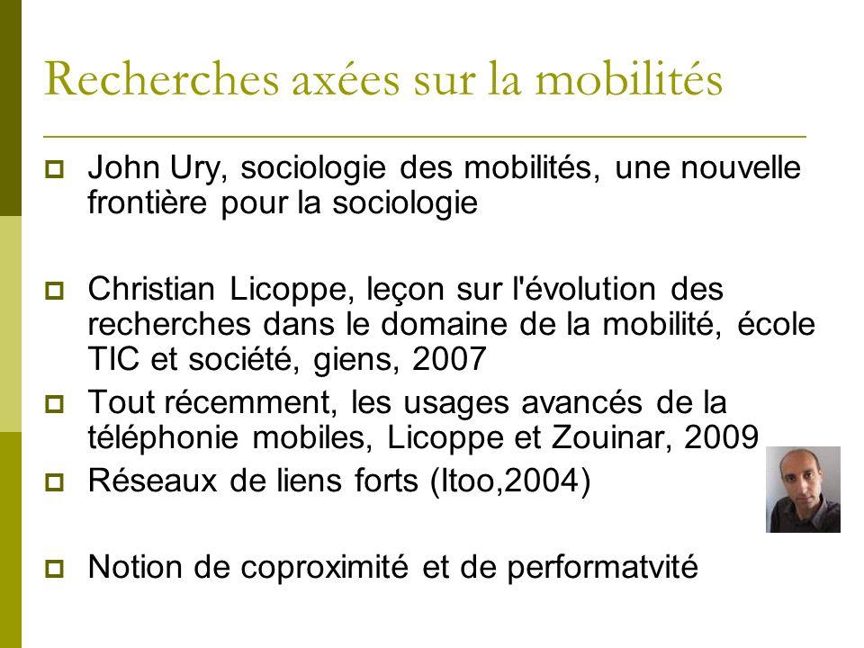 Recherches axées sur la mobilités John Ury, sociologie des mobilités, une nouvelle frontière pour la sociologie Christian Licoppe, leçon sur l'évoluti
