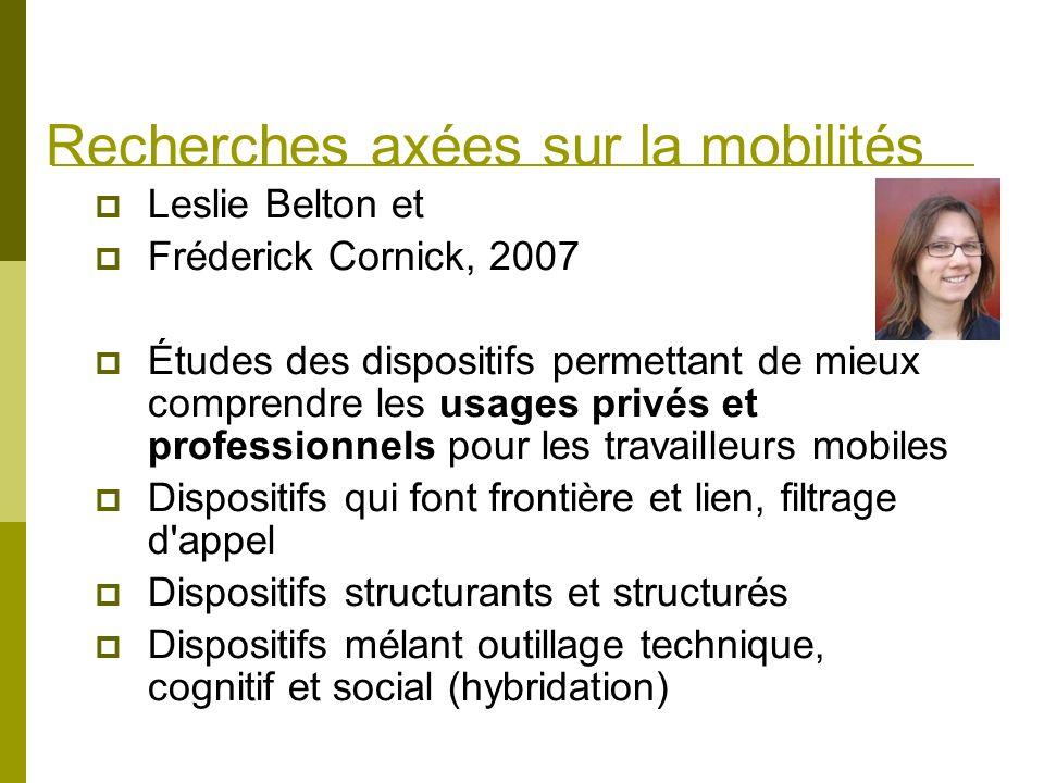 Recherches axées sur la mobilités Leslie Belton et Fréderick Cornick, 2007 Études des dispositifs permettant de mieux comprendre les usages privés et