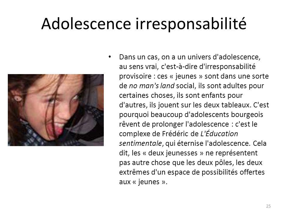 Adolescence irresponsabilité Dans un cas, on a un univers d adolescence, au sens vrai, c est-à-dire d irresponsabilité provisoire : ces « jeunes » sont dans une sorte de no man s land social, ils sont adultes pour certaines choses, ils sont enfants pour d autres, ils jouent sur les deux tableaux.