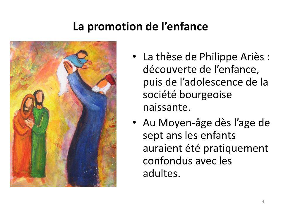 La promotion de lenfance La thèse de Philippe Ariès : découverte de lenfance, puis de ladolescence de la société bourgeoise naissante.