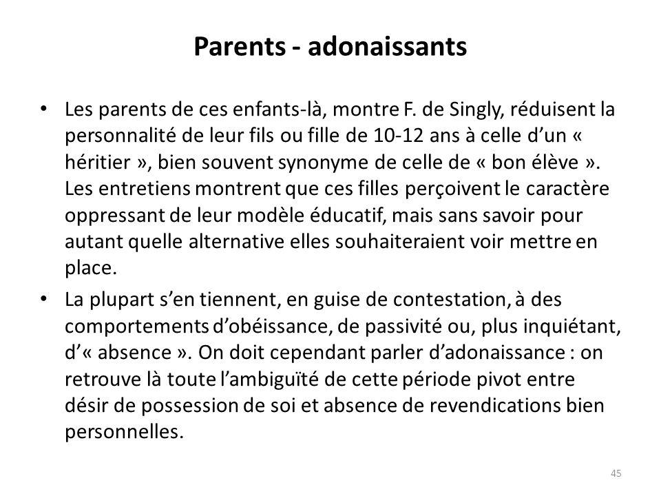 Parents - adonaissants Les parents de ces enfants-là, montre F.