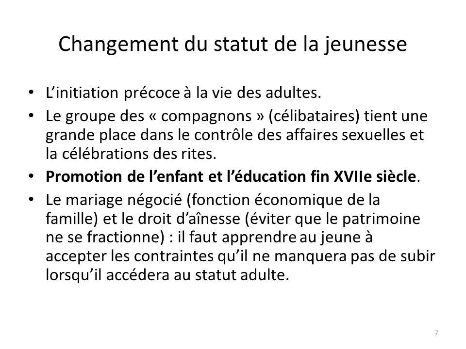 Changement du statut de la jeunesse Linitiation précoce à la vie des adultes.