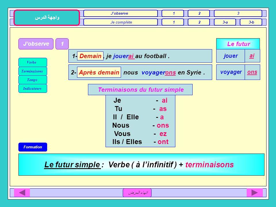 Unité 1 / A Le sport et la télévision 3ème Séance انهاء العرض Jobserve Je complète2 3 3-a واجهة الدرس 3-b 1 1 2