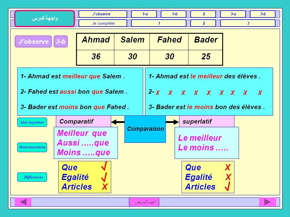 3Jobserve 1-a Je complète12 واجهة الدرس 1-b2 3 3-a انهاء العرض Différences Idée éxprimée Mots importants Jobserve3-a 1- Ahmad est plus grand que Salem