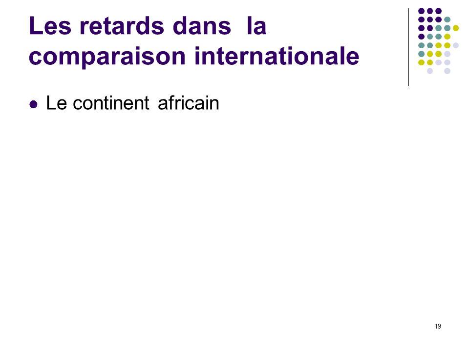 19 Les retards dans la comparaison internationale Le continent africain