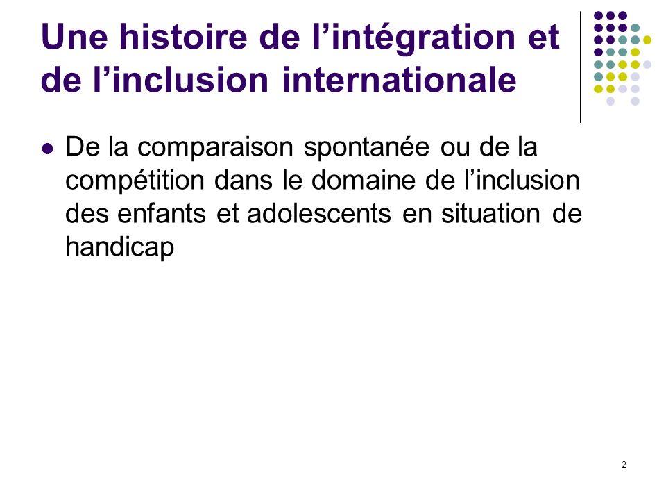 2 Une histoire de lintégration et de linclusion internationale De la comparaison spontanée ou de la compétition dans le domaine de linclusion des enfa