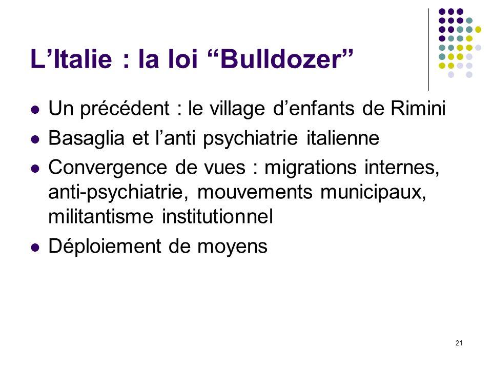 21 LItalie : la loi Bulldozer Un précédent : le village denfants de Rimini Basaglia et lanti psychiatrie italienne Convergence de vues : migrations in