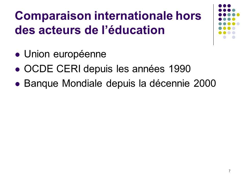 7 Comparaison internationale hors des acteurs de léducation Union européenne OCDE CERI depuis les années 1990 Banque Mondiale depuis la décennie 2000