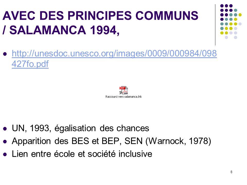 8 AVEC DES PRINCIPES COMMUNS / SALAMANCA 1994, http://unesdoc.unesco.org/images/0009/000984/098 427fo.pdf http://unesdoc.unesco.org/images/0009/000984
