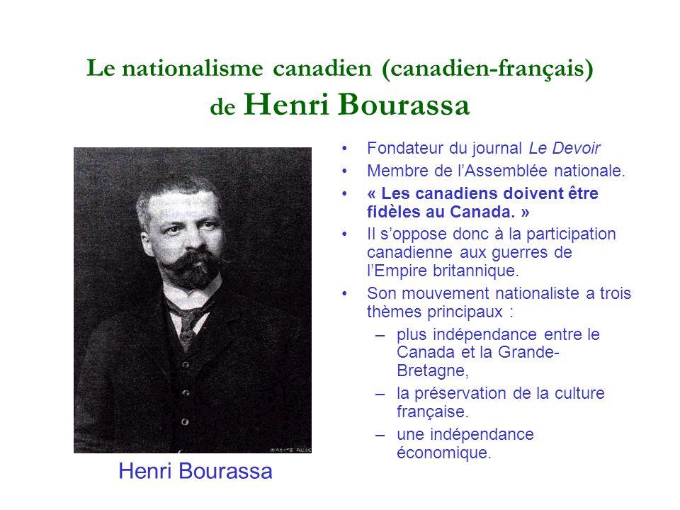 Le nationalisme canadien (canadien-français) de Henri Bourassa Fondateur du journal Le Devoir Membre de lAssemblée nationale. « Les canadiens doivent