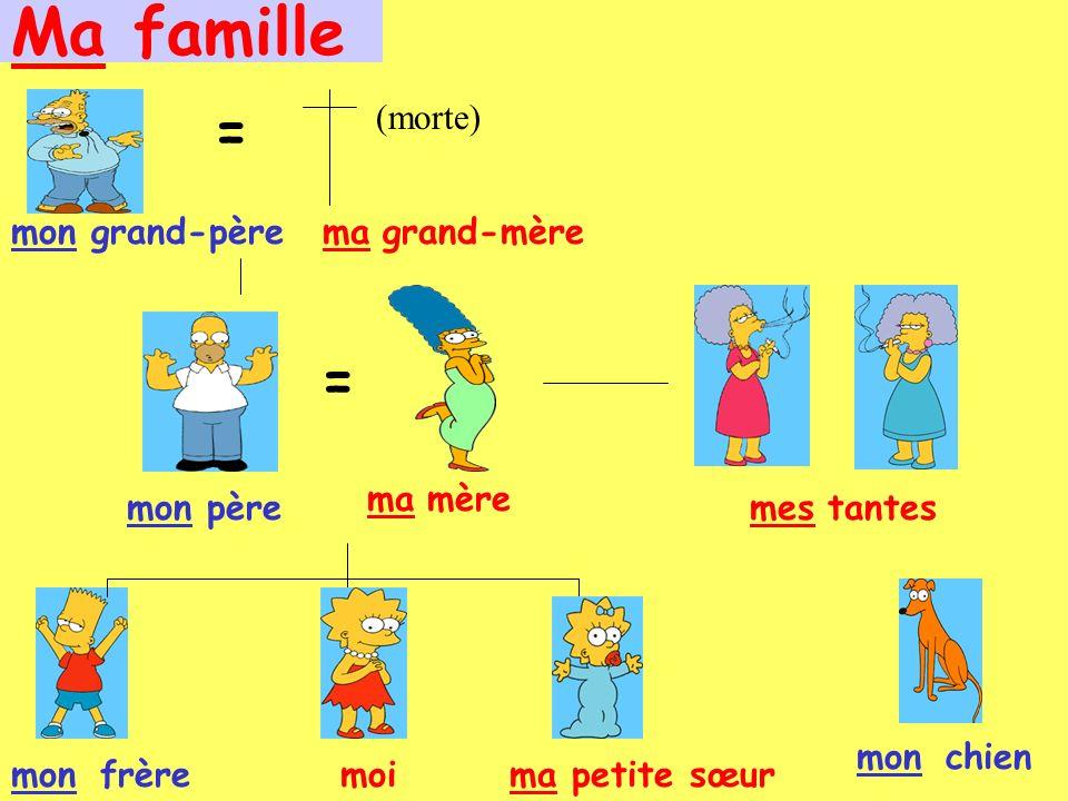 Ma famille grand-père = grand-mère = père (morte) mère tantes frèremoipetite sœurma monchien monma mon ma mes mon