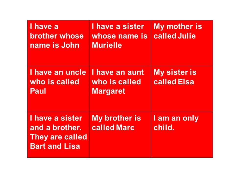 I have a brother whose name is John I have a sister whose name is Murielle My mother is called Julie I have an uncle who is called Paul I have an aunt