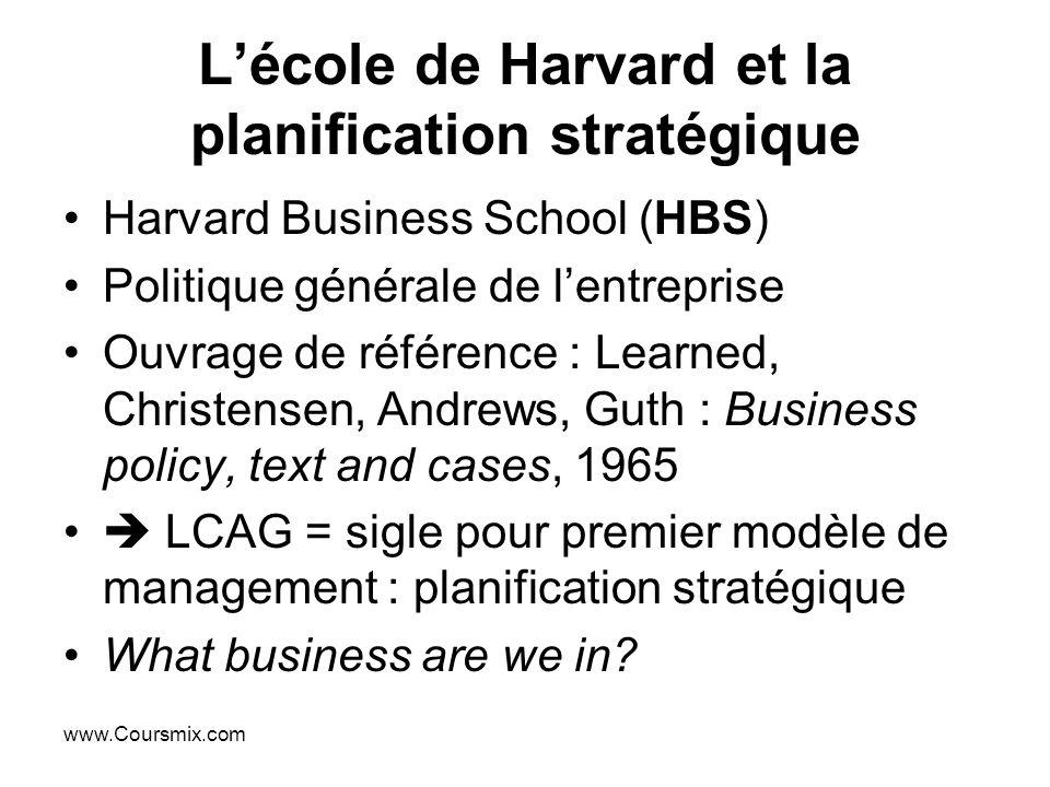 www.Coursmix.com Lécole de Harvard et la planification stratégique Harvard Business School (HBS) Politique générale de lentreprise Ouvrage de référenc