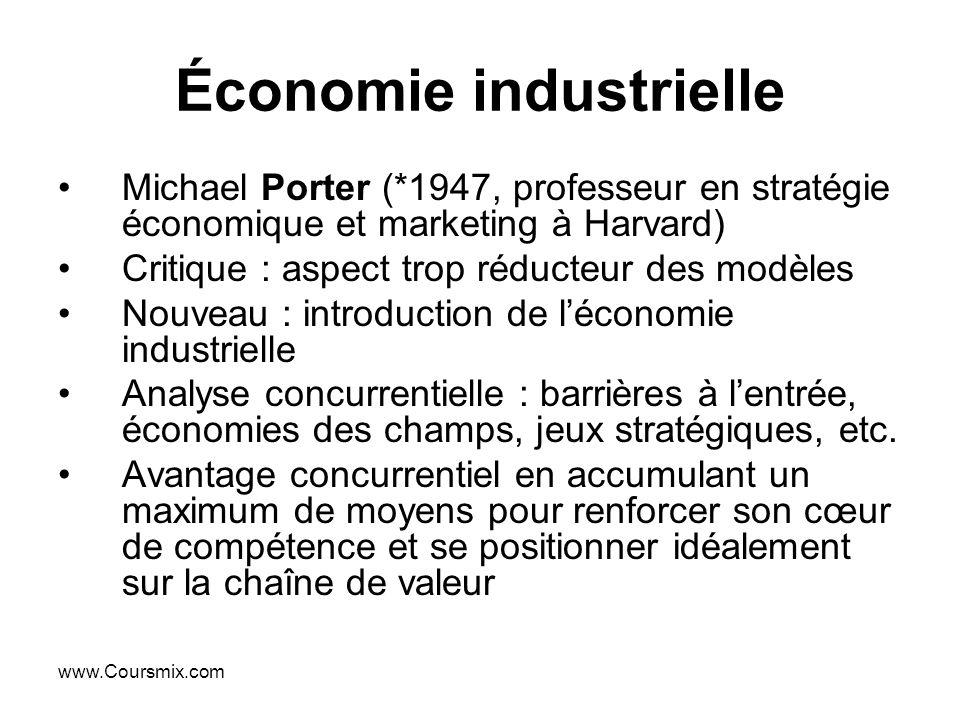 www.Coursmix.com Économie industrielle Michael Porter (*1947, professeur en stratégie économique et marketing à Harvard) Critique : aspect trop réduct