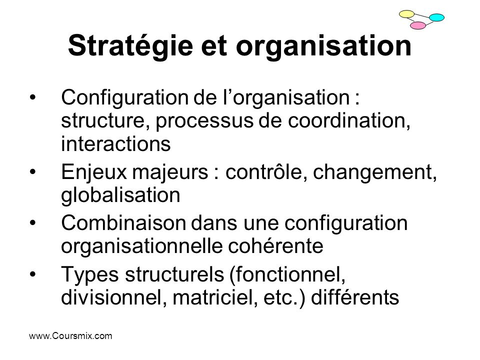 www.Coursmix.com Stratégie et organisation Configuration de lorganisation : structure, processus de coordination, interactions Enjeux majeurs : contrô