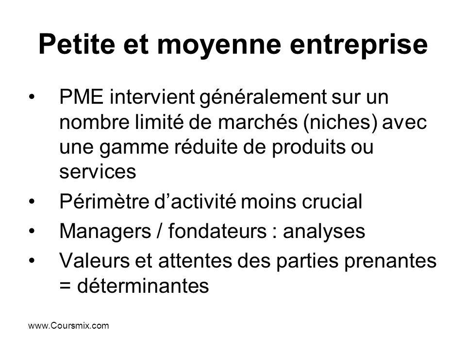 www.Coursmix.com Petite et moyenne entreprise PME intervient généralement sur un nombre limité de marchés (niches) avec une gamme réduite de produits