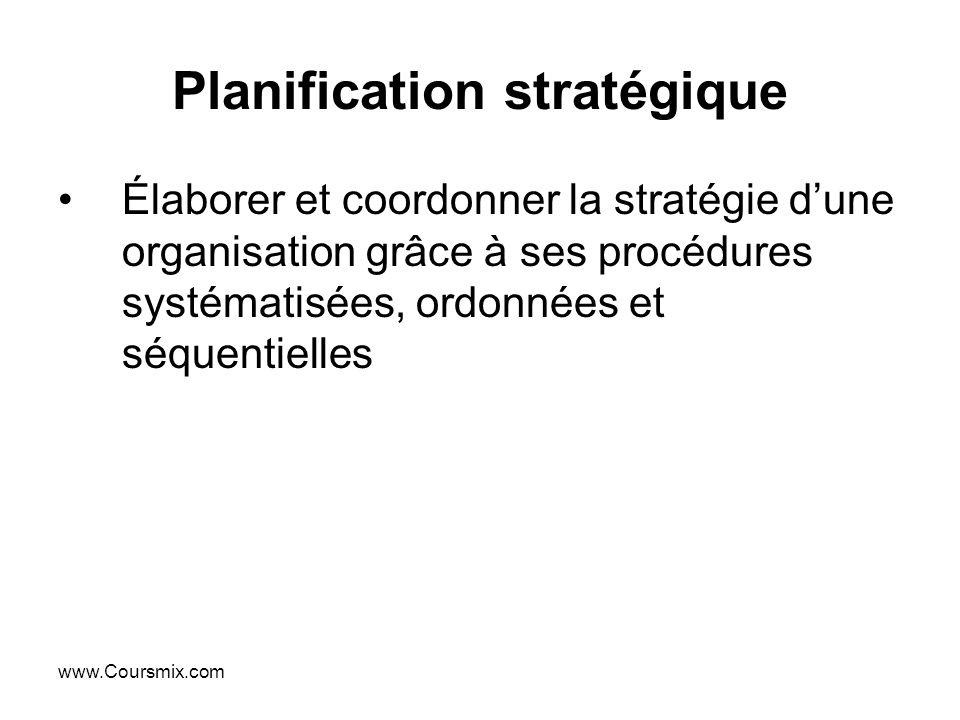 www.Coursmix.com Planification stratégique Élaborer et coordonner la stratégie dune organisation grâce à ses procédures systématisées, ordonnées et sé