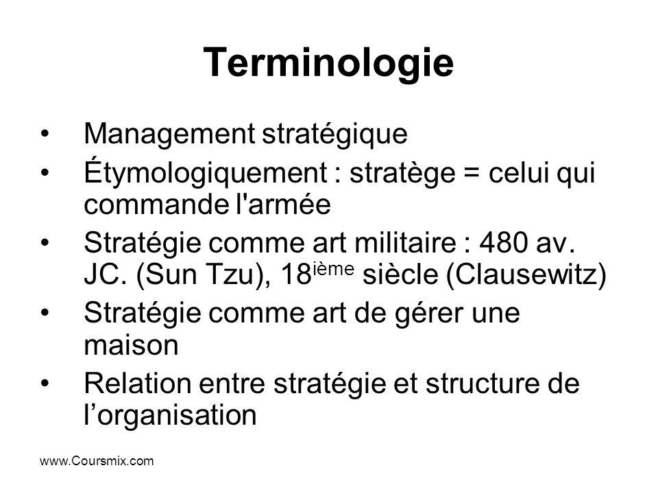 www.Coursmix.com Terminologie Management stratégique Étymologiquement : stratège = celui qui commande l'armée Stratégie comme art militaire : 480 av.