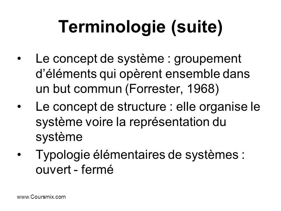 www.Coursmix.com Terminologie (suite) Le concept de système : groupement déléments qui opèrent ensemble dans un but commun (Forrester, 1968) Le concep