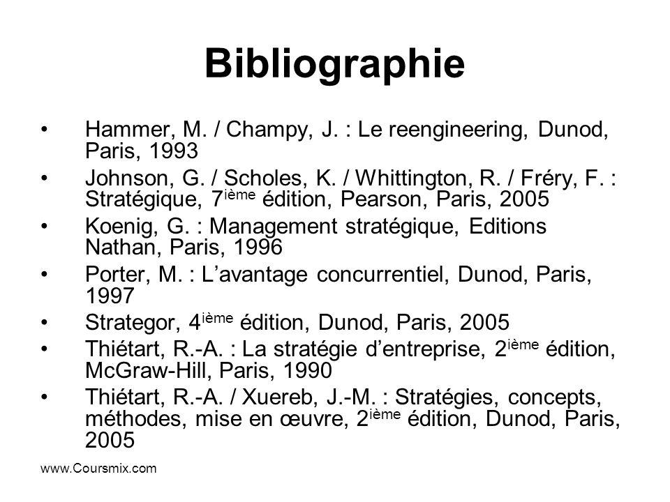 www.Coursmix.com Bibliographie Hammer, M. / Champy, J. : Le reengineering, Dunod, Paris, 1993 Johnson, G. / Scholes, K. / Whittington, R. / Fréry, F.