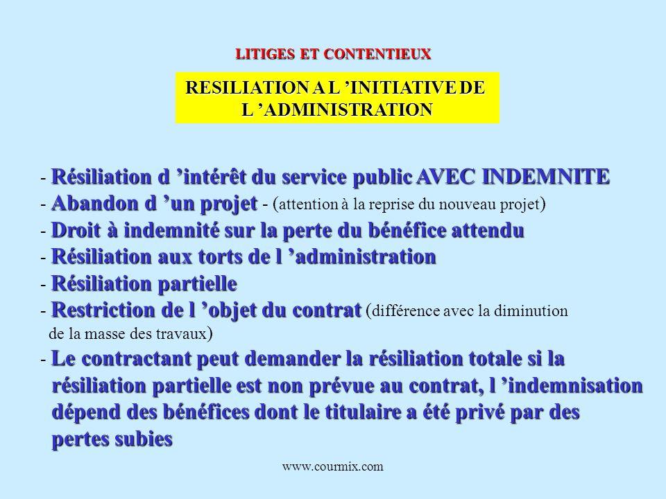 www.courmix.com LITIGES ET CONTENTIEUX RESILIATION A L INITIATIVE DE L ADMINISTRATION Résiliation d intérêt du service public AVEC INDEMNITE - Résilia