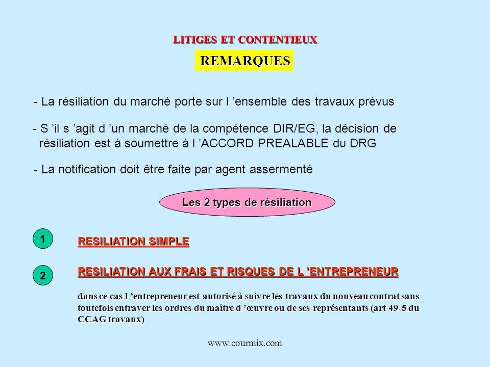 www.courmix.com LITIGES ET CONTENTIEUX REMARQUES - La résiliation du marché porte sur l ensemble des travaux prévus - S il s agit d un marché de la co