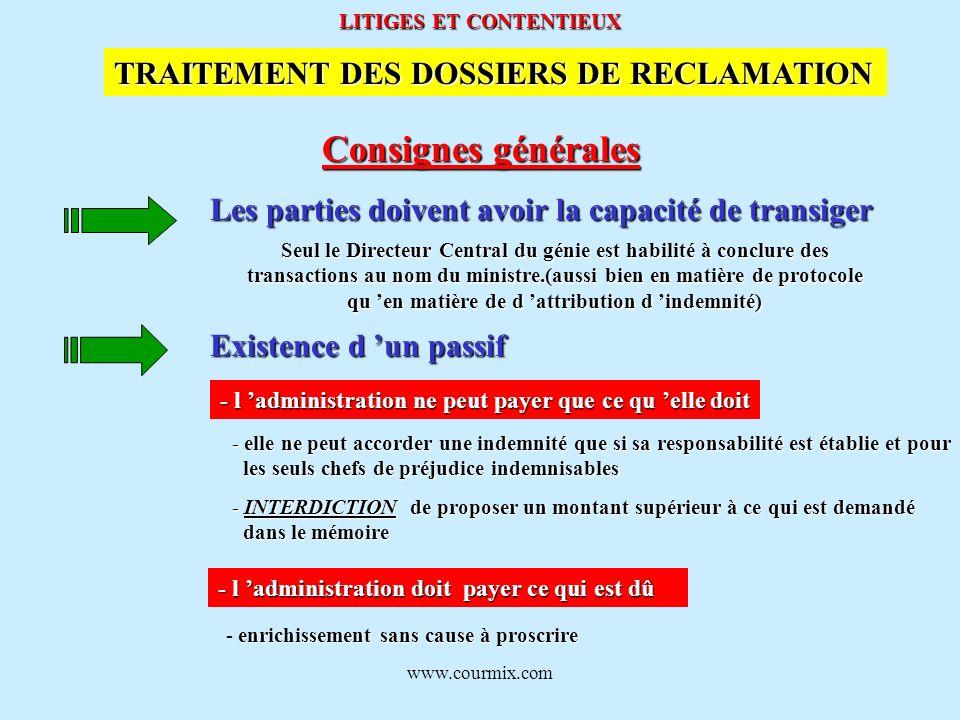 www.courmix.com LITIGES ET CONTENTIEUX Consignes générales TRAITEMENT DES DOSSIERS DE RECLAMATION Les parties doivent avoir la capacité de transiger S
