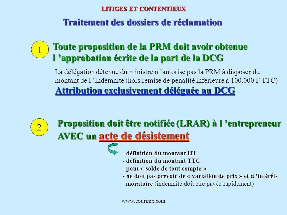 www.courmix.com LITIGES ET CONTENTIEUX Traitement des dossiers de réclamation Toute proposition de la PRM doit avoir obtenue l approbation écrite de l