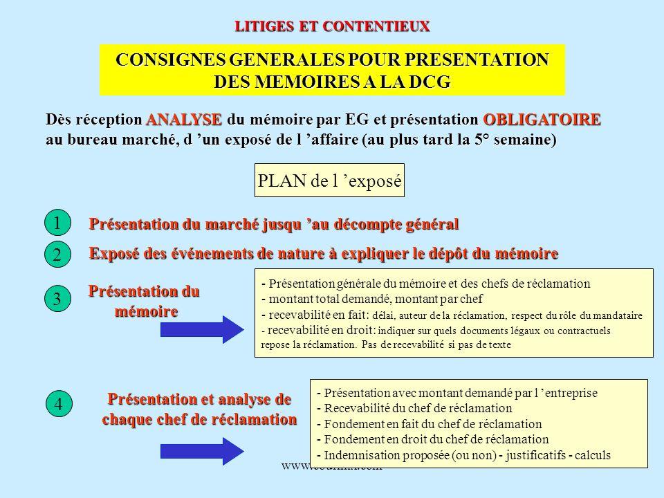 www.courmix.com LITIGES ET CONTENTIEUX CONSIGNES GENERALES POUR PRESENTATION DES MEMOIRES A LA DCG Dès réception ANALYSE du mémoire par EG et présenta