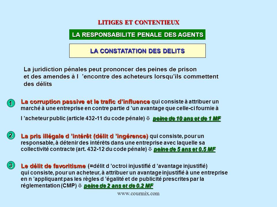 www.courmix.com LITIGES ET CONTENTIEUX LA RESPONSABILITE PENALE DES AGENTS LA CONSTATATION DES DELITS La juridiction pénales peut prononcer des peines