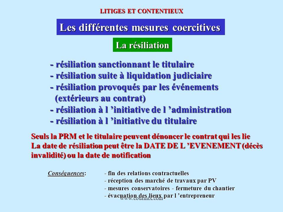 www.courmix.com LITIGES ET CONTENTIEUX Les différentes mesures coercitives La résiliation - résiliation sanctionnant le titulaire - résiliation suite
