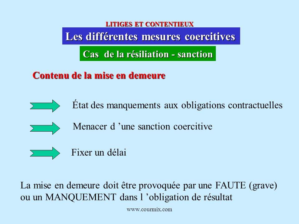 www.courmix.com LITIGES ET CONTENTIEUX Les différentes mesures coercitives Cas de la résiliation - sanction Contenu de la mise en demeure État des man