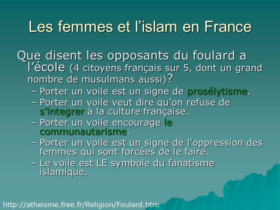 Les femmes et lislam en France Mettez le nom avec lobjet (le type de voile) Un hidjab Un hidjab Un foulard Un foulard Un tchador (Iran) Un tchador (Ir