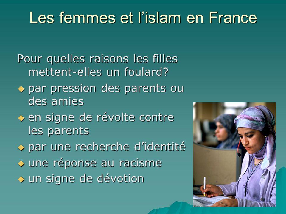 Les femmes et lislam en France Que disent les opposants du foulard a lécole (4 citoyens français sur 5, dont un grand nombre de musulmans aussi) ? –Po