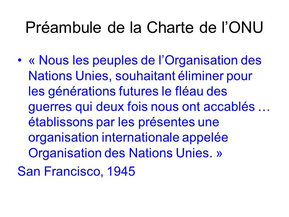 Préambule de la Charte de lONU « Nous les peuples de lOrganisation des Nations Unies, souhaitant éliminer pour les générations futures le fléau des gu