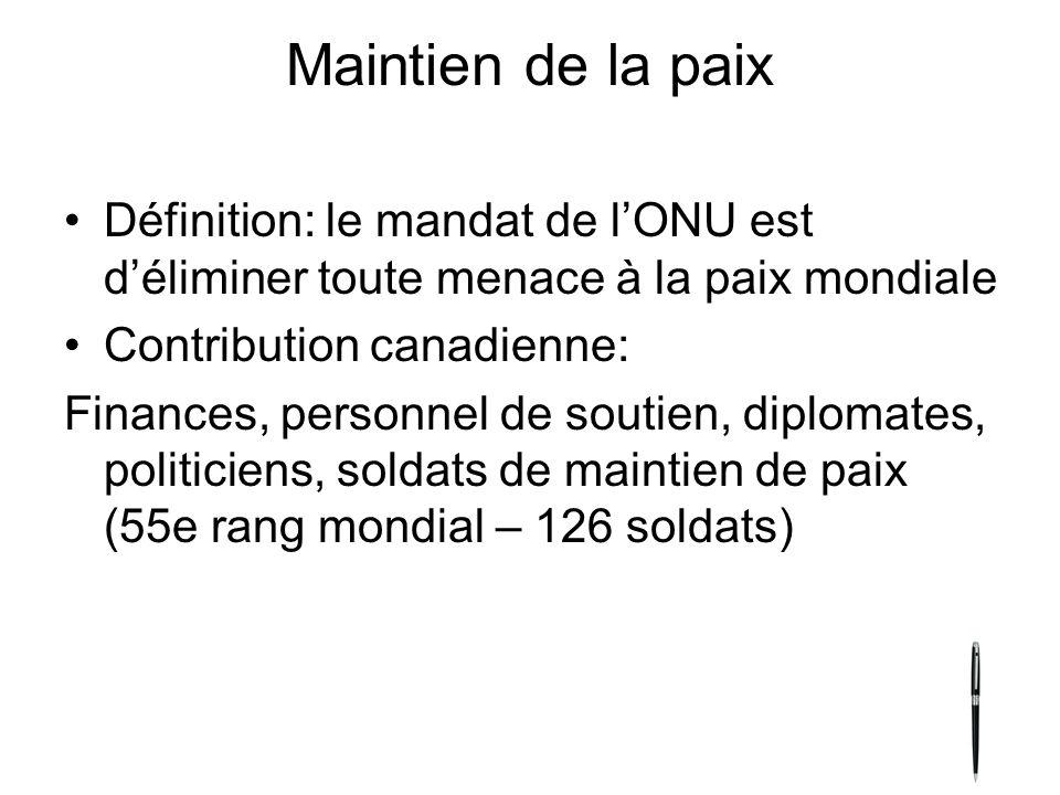 Maintien de la paix Définition: le mandat de lONU est déliminer toute menace à la paix mondiale Contribution canadienne: Finances, personnel de soutie
