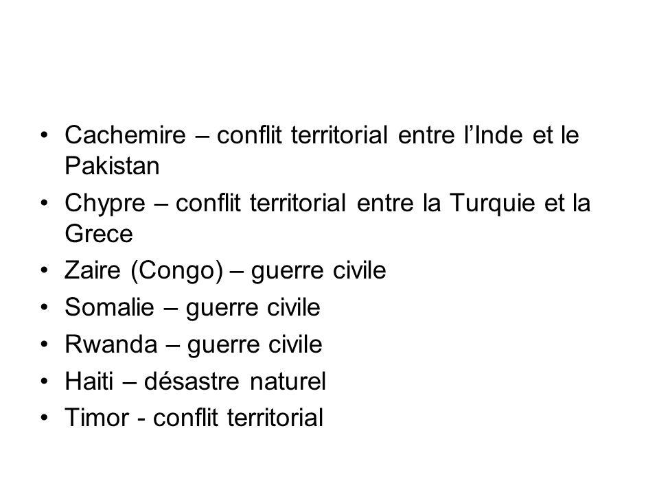 Cachemire – conflit territorial entre lInde et le Pakistan Chypre – conflit territorial entre la Turquie et la Grece Zaire (Congo) – guerre civile Som