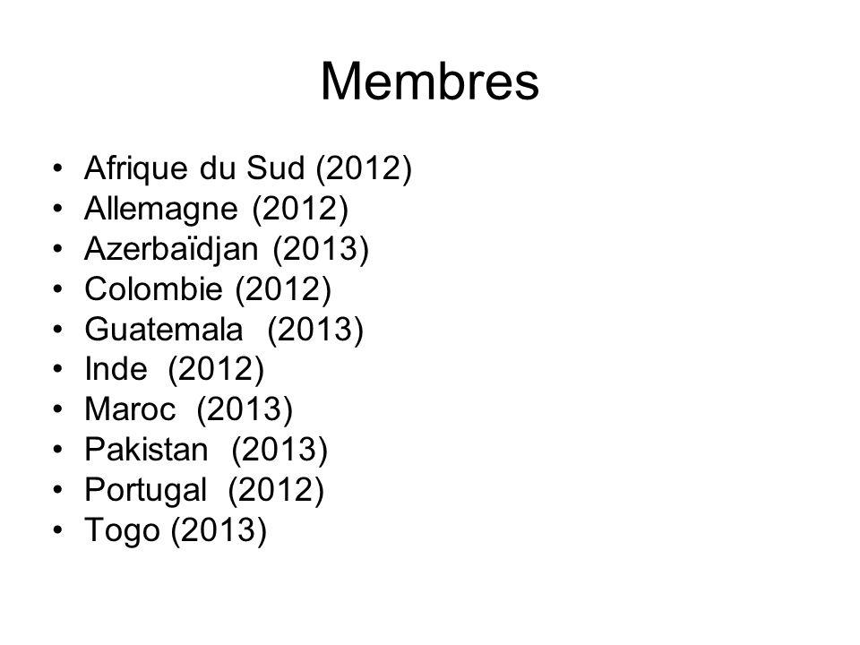 Membres Afrique du Sud (2012) Allemagne (2012) Azerbaïdjan (2013) Colombie (2012) Guatemala (2013) Inde (2012) Maroc (2013) Pakistan (2013) Portugal (