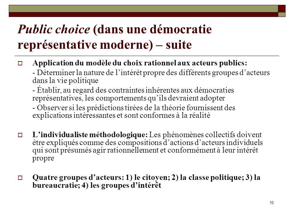 10 Public choice (dans une démocratie représentative moderne) – suite Application du modèle du choix rationnel aux acteurs publics: - Déterminer la na