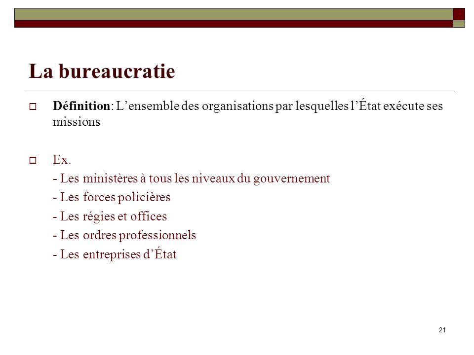 21 La bureaucratie Définition: Lensemble des organisations par lesquelles lÉtat exécute ses missions Ex. - Les ministères à tous les niveaux du gouver