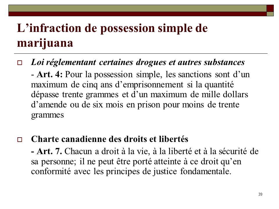 39 Linfraction de possession simple de marijuana Loi réglementant certaines drogues et autres substances - Art. 4: Pour la possession simple, les sanc