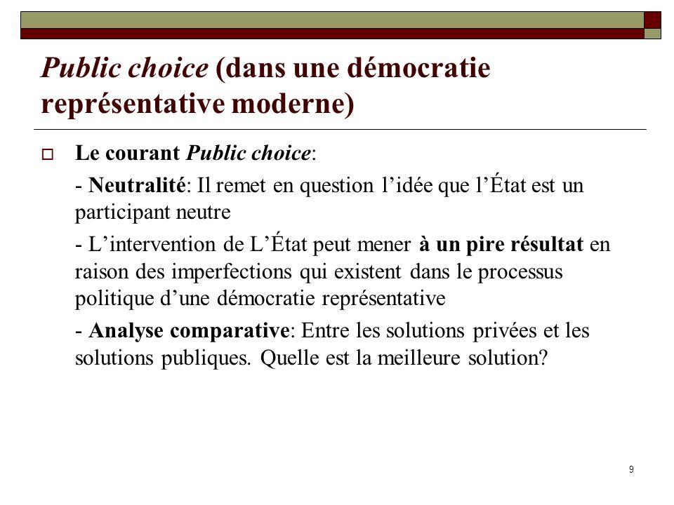 9 Public choice (dans une démocratie représentative moderne) Le courant Public choice: - Neutralité: Il remet en question lidée que lÉtat est un parti