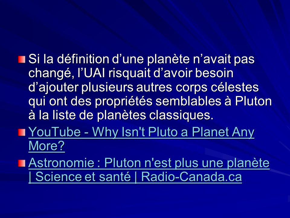 Si la définition dune planète navait pas changé, lUAI risquait davoir besoin dajouter plusieurs autres corps célestes qui ont des propriétés semblables à Pluton à la liste de planètes classiques.